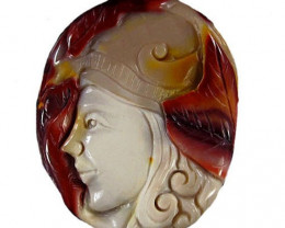 Myth Warrior Carved Cameo Focal Pendant Stone 105.00cts Classic Carving (dr