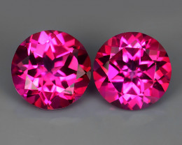 3.20 CTS WONDERFUL COLOR 7.04 MM ROUND PINK TOPAZ 2 PCS