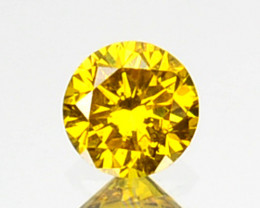 0.09 Cts Natural Sparkling Yellow Diamond Round Africa