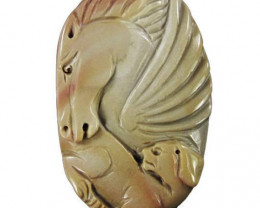 Superb Succor Creek Carved Focal Pendant Stone of Pegasus & Dog - Class