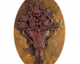 Floral Urn Carved Cameo Focal Pendant Stone in Ribbon Jasp