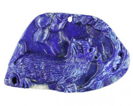 Cat Carved Cameo Focal Pendant Stone in Lapis Lazuli 140.00cts