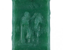 A Knight and Horse Carved Cameo Focal Pendant Stone in Aventurine 160.00cts