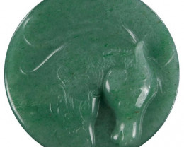 Large Horse Carved Cameo Focal Pendant Stone in Aventurine 265.00cts