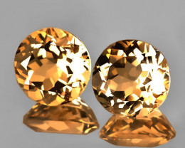 A PAIR OF CARAMEL TOPAZ GEMS - 8.00mm Jewellery grade gems