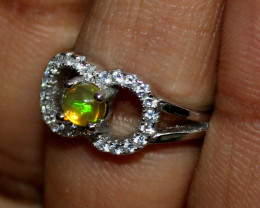 Natural Ethiopian Welo Fire Opal 925 Silver Ring Size (4 US ) 163