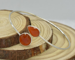 NATURAL UNTREATED  BRACELET 925 STERLING CARNELIAN  SILVER JE1368