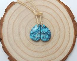 8cts turquoise earrings ,triangle earrings ,healing stone ,designer B243