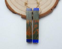 Multi Color Picasso Jasper,Lapis Lazuli Intarsia Earring Beads B258