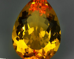 13.85 CTS DAZZLING TOP NATURAL GOLDEN CITRINE PEAR BRAZIL NR!!!