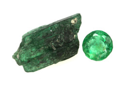 2.31cts Emerald Rough and Cut Before and After Set