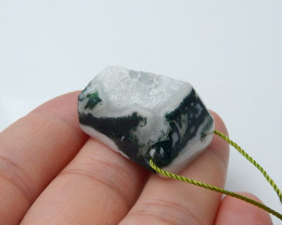 Moss Agate Necklace - Raw Agate Pendant - Raw Quartz Necklace B176