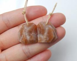 33cts Natural Sunstone faceted earrings ,lovely earrings ,Designer Making B