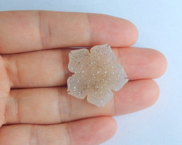 Hand carved natural crystal cabochon ,flower cabochon ,can drill hole B174