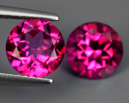 3.25 CTS WONDERFUL COLOR 7.11 MM ROUND PINK TOPAZ 2 PCS NR!!