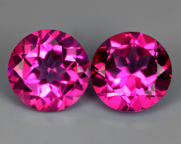 2.85 CTS WONDERFUL COLOR 7.10 MM ROUND PINK TOPAZ 2 PCS NR!!