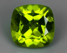 2.75 Cts.Magnificient Top Sparkling Intense Green-Cushion 8.15MM~ NR!!!