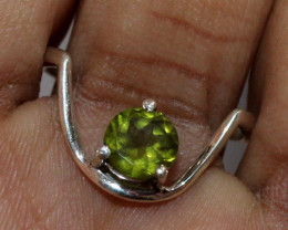 Natural Peridot 925 Sterling Silver Ring Size ( 4.5 US) 55