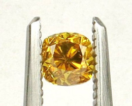 Natural Fancy Vivid orangy Yellow Diamond HRD certified