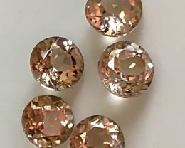 Premium gem parcel of  5 Silver Gold Topaz gems 6.00mm VVS