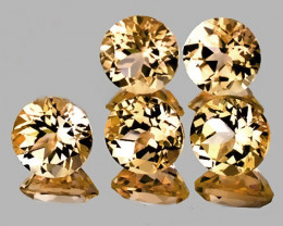 Superb gem parcel of  5 Gold Topaz gems 6.00mm VVS