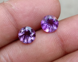 TOP QUALITY AMETHYST PAIR 7 mm ROUND Natural+Untreated VA2673
