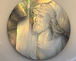 Mother of Pearl Jesus Carved Cameo Shell with Rainbows Cabochon