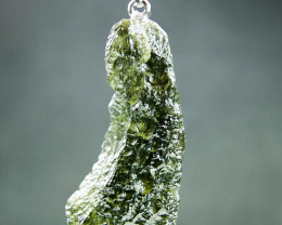 Glossy Natural Moldavite Pendant with CERTIFICATE