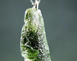 Pendant - Shiny Moldavite - Drop shape CERTIFIED