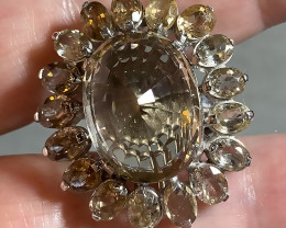 Superb Smokey Quartz Zircon Silver and Gold Ring Size 8.5 NR 2nd