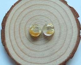 High Quality Raw Gold Rutilated Quartz Round Cabochons Pairs  B314