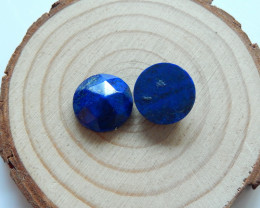 High Quality Faceted Lapis Lazuli Round Cabochons Pairs Designer Making B31