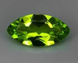 3.05 Cts.Magnificient Top Sparkling Intense Green Peridot Marquise!!
