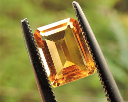 1.45ct  EMERALD FACETED BRIGHT GOLD CITRINE GEMSTONE FROM BRAZIL