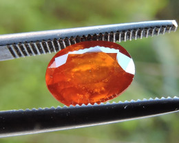 1.65ct ORISSA HESSONITE GARNET OVAL FACETED BRIGHT ORANGE GEMSTONE
