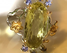 Beautiful Tanzanite Lemon Quartz Handmade 14kt Gold over Sterling Silver Ri