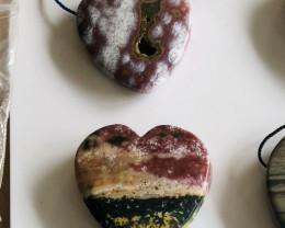 heart shape ocean jasper pendant bead