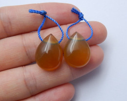 29cts Natural agate earring pairs ,round earrings ,healing stone (B280)