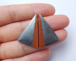 Natural Sunstone  ,hematite  Intarsia Pairs ,Triangle Cabochon Healing Ston