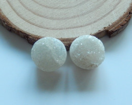 High Quality Raw Crystal Round Cabochons Pairs Designer Making B298