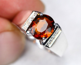 4.09g Natural Champagne Brown Tourmaline 925 Sterling Silver Ring AS0601