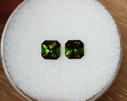 1,64ct Bi-colour Tourmaline pair - Designer cut!