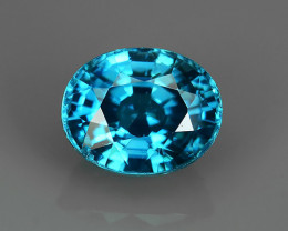 2.35 CTS DAZZLING NATURAL RARE TOP LUSTER INTENSE BLUE ZIRCON