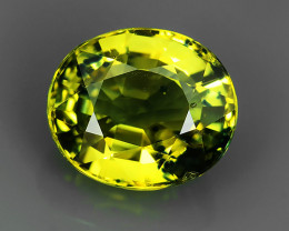 CERTIFED~4.99 Ct_Stunning Lustrous Greenish_Yellow Natural Sapphire_Open Fi