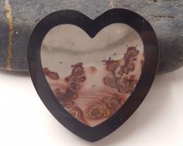 Natural Chohua Jasper ,Obsidian Intarsia Cabochon,Heart Gemstone  B325