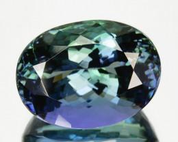 ~FANTASTIC~ 6.61 Cts Natural Tanzanite Bi-Color Blue - Green Oval Cut Tanza