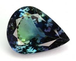 7.98 Cts Natural Tanzanite Bi-Color Blue - Green Pear Cut Tanzania