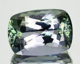 4.41 Cts Natural Tanzanite Bi-Color Blue - Green Cushion Cut Tanzania