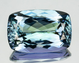 ~LUSTROUS~ 4.50 Cts Natural Tanzanite Bi-Color Blue - Green Cushion Cut Tan