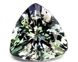 2.66 Cts Natural Tanzanite Bi-Color Bluish Green Trillion Cut Tanzania
